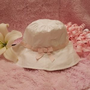💞Janie and Jack Sun Hat-White with Pink Bow💞